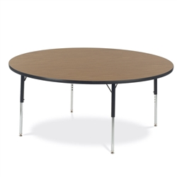 "Virco 4860RCHRM- Round 60"" Activity Table, 1 1/8 inch Thick Laminate Top, Adjustable Legs All Chrome  (Virco 4860RCHRM)"