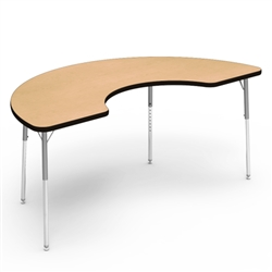 "Virco 48COOP72N- Half Moon Cooperative Learning 36"" x 72"" Activity Table, 1 1/8 inch Thick Laminate Top, non-adjustable All Chrome Legs  (Virco 48COOP72N)"