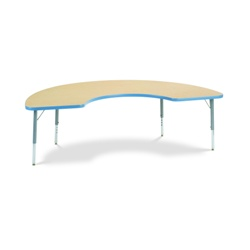 "Virco 48COOP72LO - Half Moon Cooperative Learning 36"" x 72"" Color Banded Activity Table, 1 1/8 inch Thick Laminate Top, Preschool Height Adjustable Legs  (Virco 48COOP72LO)"