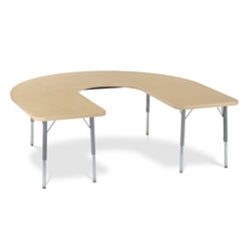 "Virco 48HORSE60DCLO - Deep Cut Horseshoe 60"" x 66"" Color Banded Activity Table, 1 1/8 inch Thick Laminate Top with Deep Center, Preschool Height Adjustable Legs  (Virco 48HORSE60DCLO)"