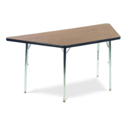 "Virco 48TRAP60N- Trapezoid 30"" x 60"" Activity Table, 1 1/8 inch Thick Laminate Top, non-adjustable All Chrome Legs  (Virco 48TRAP60N)"