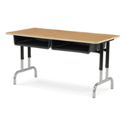 "Virco 792448BB - Double Student Desk, Dual Open Front Book Boxes, 24"" x 48"" Top, Unitized Steel Frame  (Virco 792448BB)"