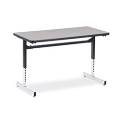 "Virco 872448 Computer Table - Rectangular 24"" x 48"", 1 1/8"" Thick Laminate Top, Height Adjusts 22"" - 30""  (Virco 872448)"