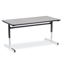 "Virco 873060 - Computer Table - Rectangular 30"" x 60"", 1 1/8"" Thick Laminate Top, Height Adjusts 22"" - 30""  (Virco 873060)"