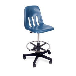"Virco 9260GCLS - 9000 Series Mobile Lab Stool with Chrome Footring and Black Base/Wheels - Seat Adjusts from 19"" to 26 1/2""  (Virco 9260GCLS)"