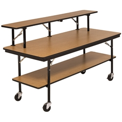 "AmTab Double-Tier Mobile Folding Buffet Table w/ Laminate Plywood Top - 30""W x 72""L x 30""H (AmTab AMT-BF306DP)"