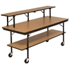 "AmTab Double-Tier Mobile Folding Buffet Table w/ Laminate Plywood Top - 30""W x 96""L x 30""H (AmTab AMT-BF308DP)"