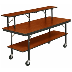 "AmTab Double-Tier Mobile Folding Buffet Table w/ Laminate Plywood Top - 30""W x 96""L x 30""H (AmTab AMT-BF308P)"