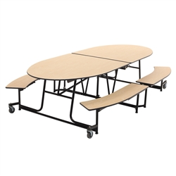 "AmTab Elliptical Mobile Bench Cafeteria Table - 60""W x 10'L (AmTab AMT-MBE10)"
