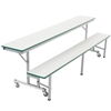 "AmTab Mobile Convertible Bench Cafeteria Table - 29""W x 6'L (AmTab AMT-MCB6)"