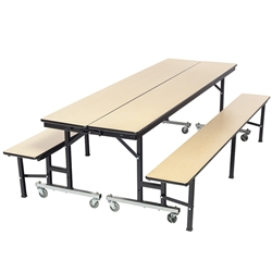 "AmTab Mobile Convertible Bench Cafeteria Table - 29""W x 8'L (AmTab AMT-MCB8)"