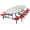 "AmTab Elliptical Mobile Stool Cafeteria Table - 60""W x 10'L (AmTab AMT-MSE1012)"