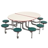 "AmTab Elliptical Mobile Stool Cafeteria Table - 66""W x 6'L (AmTab AMT-MSE610)"