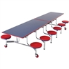 "AmTab Mobile Stool Cafeteria Table - 30""W x 10' 1""L (AmTab AMT-MST1012)"