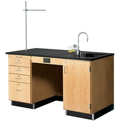 "Diversified Woodcrafts Instructor's Desk w/ Sink & Cabinet - 60"" W X 30"" D<br>(Diversified Woodcrafts DIV-1214K-R)"