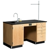 "Diversified Woodcrafts 5' Instructor's Desk w/ Sink & Cabinet on Left Side - Epoxy Resin Top - 60""W x 30""D<br> (Diversified Woodcrafts DIV-1216K-L)"