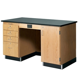 "Diversified Woodcrafts 5' Instructor's Desk w/ Cabinet on Right Side - Epoxy Resin Top - 60""W x 30""D<br>(Diversified Woodcrafts DIV-1216KF-R)"
