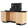 "Diversified Woodcrafts Versacurve Instructor's Desk w/ Door Cabinet, 3 Drawer w/ One File Cabinet - 72""W x 40""D<br>(Diversified Woodcrafts DIV-1314K)"