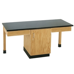 "Diversified Woodcrafts Woodcrafts 2 Station Table w/1-1/4"" Plastic Lam Top, Plain Apron & Door Cab (Diversified Woodcrafts DIV-2101K)"