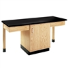 "Diversified Woodcrafts 2 Station Table w/1-1/4"" ChemGuard Top, Plain Apron & Door (Diversified Woodcrafts DIV-2102K)"