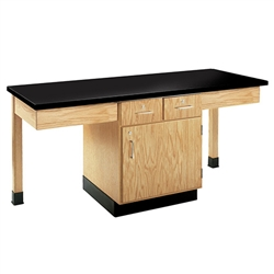 Diversified Woodcrafts  Two-Student Science Cabinet Table w/ Storage - Plain Apron - Plastic Laminate Top (Door & Drawers)  (Diversified Woodcrafts DIV-2201K)