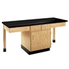 "Diversified Woodcrafts 2 Station Table w/ 1-1/4"" ChemGuard Top, Plain Apron & Door (Diversified Woodcrafts DIV-2204K)"