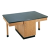 "Diversified Woodcrafts 4 Station Table w/ 1-1/4"" ChemArmor Top, Plain Apron & Door (Diversified Woodcrafts DIV-2302K)"