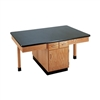 "Diversified Woodcrafts 4 Station Table w/ 1-1/4"" ChemGuard Top, Plain Apron & Door/Drwrs (Diversified Woodcrafts DIV-2402K)"