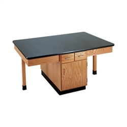 "Diversified Woodcrafts 4 Station Table w/ 1-1/4"" Epoxy Resin Top, Plain Apron & Door/Drawers (Diversified Woodcrafts DIV-2406K)"