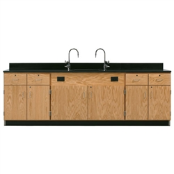 "Diversified Woodcrafts Wall Service Bench w/ Storage Cabinets Epoxy Resin Top - 108"" W X 24"" D (Diversified Woodcrafts DIV-3226K)"