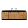 "Diversified Woodcrafts Wall Service Bench w/ Storage Cabinets Phenolic Resin Top - 108"" W X 24"" D (Diversified Woodcrafts DIV-3234K)"