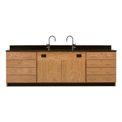 "Diversified Woodcrafts Wall Service Bench w/ Storage Cabinets Epoxy Resin Top - 108"" W X 24"" D (Diversified Woodcrafts DIV-3246K)"