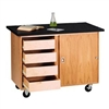 Diversified Woodcrafts Mobile Demonstration Table w/ Drawers - Flat Top & Rod Sockets (Diversified Woodcrafts DIV-4222KF-RS)