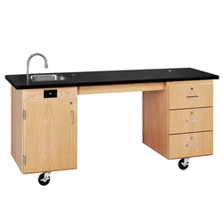 "Diversified Woodcrafts ADA Compatible Mobile Lab Station - 72"" W x 27"" D (Diversified Woodcrafts DIV-4352K)"