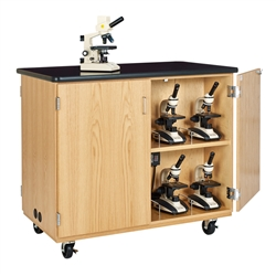 Diversified Woodcrafts Mobile Microscope Storage Cabinet w/ Plastic Laminate Top & Charger (Diversified Woodcrafts DIV-4741K)