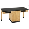 "Diversified Woodcrafts 2 Station Table w/ 1-1/4"" ChemArmor Top, Compartment Apron (Diversified Woodcrafts DIV-C2102K)"