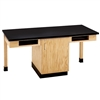 "Diversified Woodcrafts 2 Station Table w/ 1"" Solid Epoxy Resin Top, Compartment Apron (Diversified Woodcrafts DIV-C2106K)"