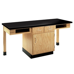 Diversified Woodcrafts 2 Station Table w/ No Top, Compartment Apron & Door/Drawer (Diversified Woodcrafts DIV-C2204K)