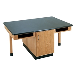 "Diversified Woodcrafts 4 Station Table w/ 1-1/4"" ChemArmor Top, Compartment Apron, Plain (Diversified Woodcrafts DIV-C2302K)"