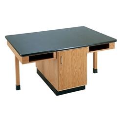 "Diversified Woodcrafts 4 Station Table w/ Door & Book Compartments - Epoxy Resin Top - 66""W x 42""D (Diversified Woodcrafts DIV-C2306K)"
