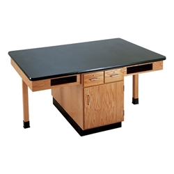 "Diversified Woodcrafts 4 Station Table w/ 1"" Solid Epoxy Resin Top, Compartment Apron (Diversified Woodcrafts DIV-C2406K)"