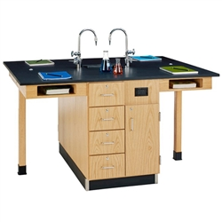 Diversified Woodcrafts Four Station Service Center w/ Sink - Door/drawer, Phenolic Resin Top (Diversified Woodcrafts DIV-C2524K)