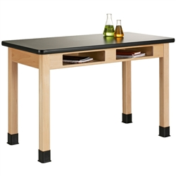 Diversified Woodcrafts Maple Table w/ Book Compartments - ChemArmor Top (Diversified Woodcrafts DIV-C7152M30N)