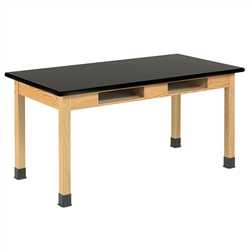 "Diversified Oak Table w/ Book Compartments, Plastic Laminate - 72"" W X 21"" D (Diversified Woodcrafts DIV-C7231K30N)"