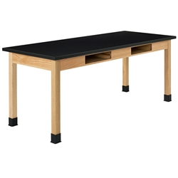 "Diversified Oak Table w/ Book Compartments, Epoxy Resin - 72"" W X 21"" D (Diversified Woodcrafts DIV-C7236K30N)"