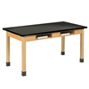 "Diversified Oak Table w/ Book Compartments, Phenolic Resin - 72"" W X 36"" D (Diversified Woodcrafts DIV-C7244K30N)"