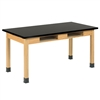 "Diversified Oak Table w/ Book Compartments, Plastic Laminate - 72"" W X 24"" D (Diversified Woodcrafts DIV-C7301K30N)"