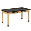 "Diversified Oak Table w/ Book Compartments, 1 inch Epoxy Resin - 72"" W X 24"" D (Diversified Woodcrafts DIV-C7306K30N)"