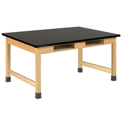 "Diversified Oak Table w/ Book Compartments, ChemArmor - 54"" W X 42"" D (Diversified Woodcrafts DIV-C7802K30L)"