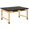 "Diversified Oak Table w/ Book Compartments, 1 inch Epoxy Resin - 60"" W X 42"" D (Diversified Woodcrafts DIV-C7906K30L)"
